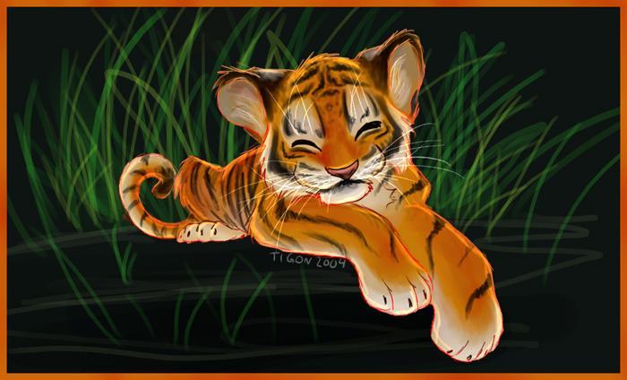 Открытка с мышонком и тигром