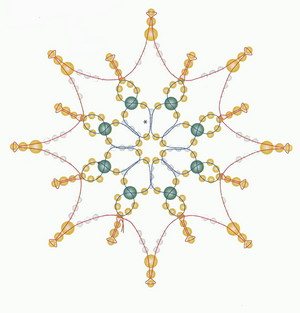 Схемы новогодних снежинок из бисера, стекляруса и бусинок.
