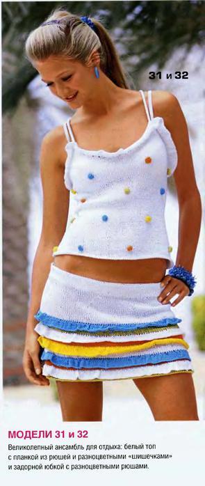 Вязание юбок на спицах.  Вязаные модели.  Автор:Admin.