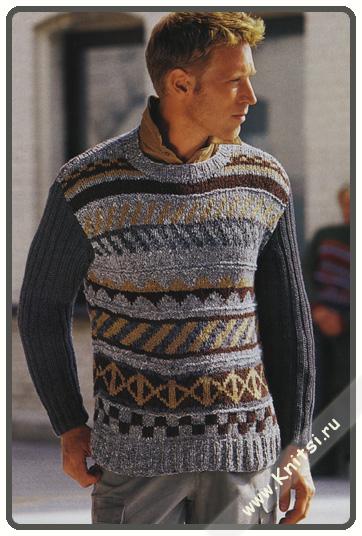 Вязаный свитер мужской с жаккардовым рисунком бесплатно.