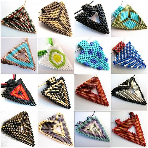 Треугольнички из бисера - схемы.