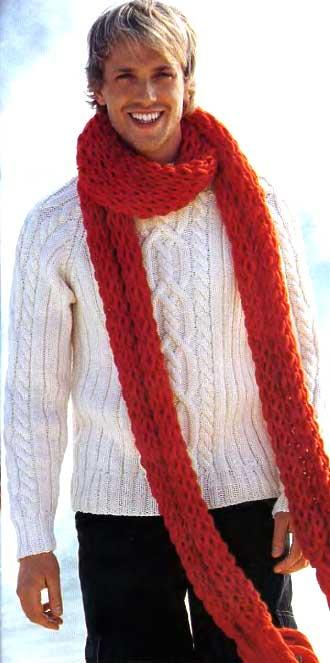 Попеременно 2 изнаночные, 4 лицевые.  Белый полувер и красный шарф.