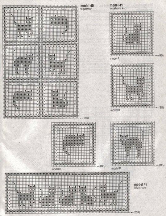 Поверьте с ними учеба легче.  Кошки и коты - схемы для вязания и.
