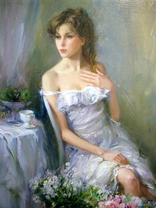...которые наиболее очевидны в его живописи с великолепными барышнями.