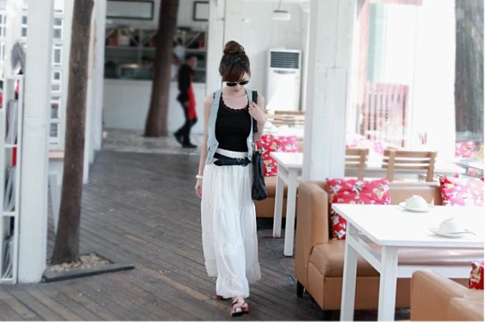 оптом Чёрная белая длинная шифоновая юбка.