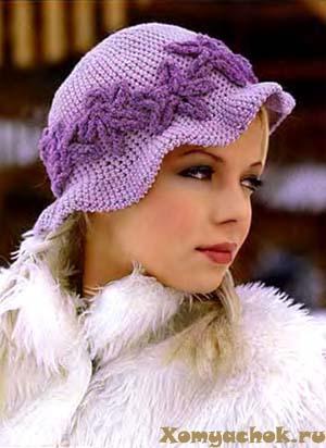 Женская шапка вязаная крючком.  Вязаная шляпа расшитая бисером.