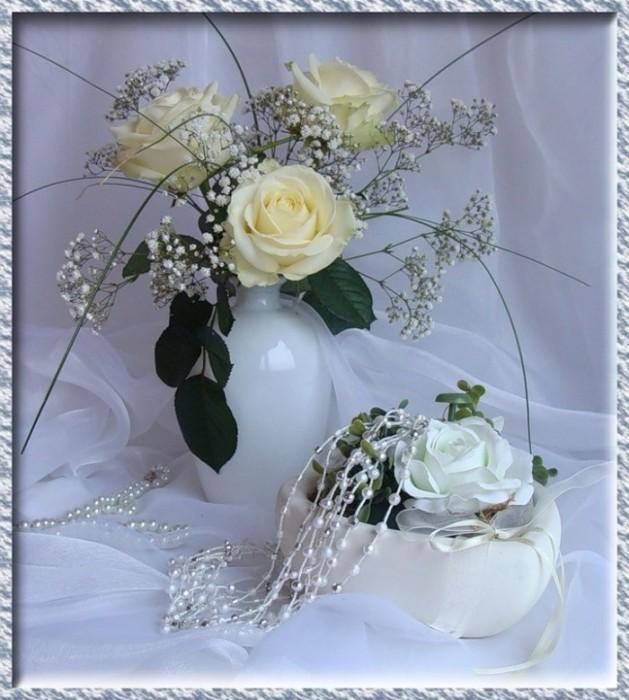 Картинки анимашки белые розы, надписью седой стихи