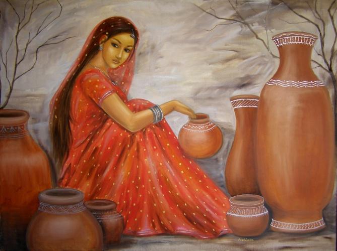Женщина с кувшином воды картинки