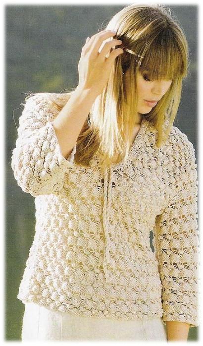 """Пуловер с узором из  """"шишечек """""""
