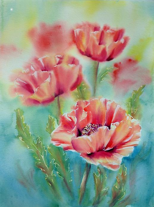Цветы нарисованные акварелью.  Прочитать целикомВ.
