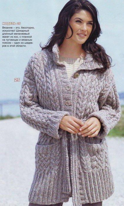 Вязание спицами.  Кофты, свитера, пиджаки, как связать узор узелок.