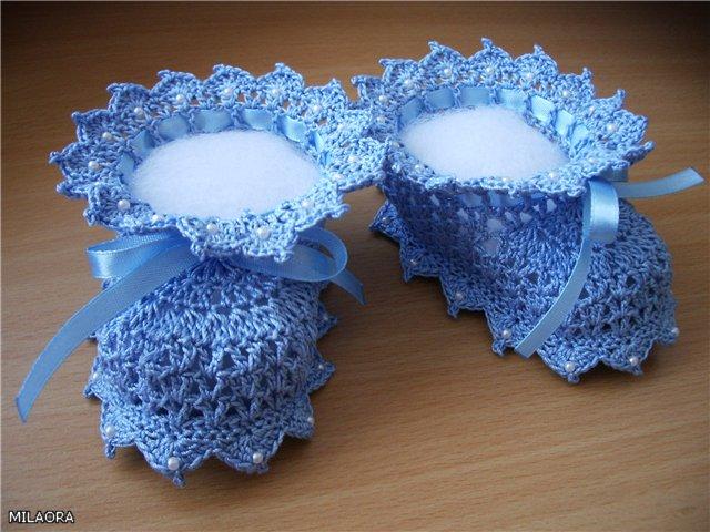 пинетки тапочки голубые обшитые бисером