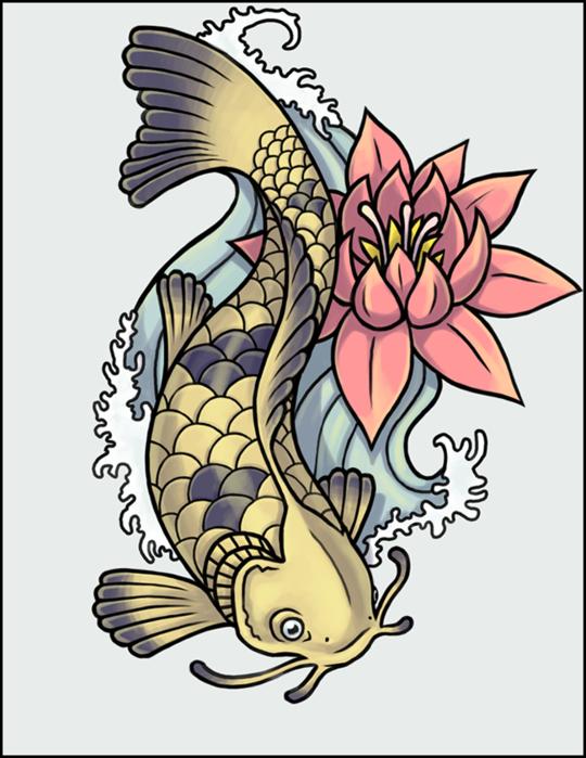 Японские рыбы рисунок, картинки годовщина