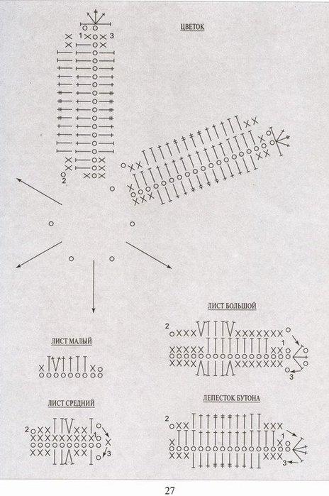 схема вязания лилии.