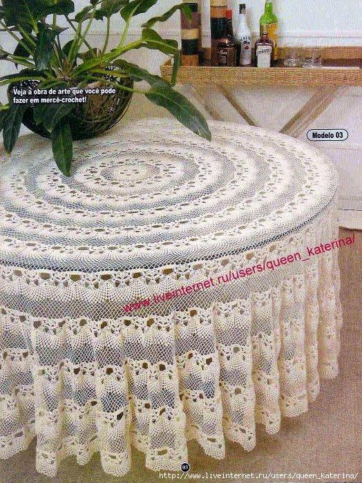 схема вязания крючком круглая скатерть
