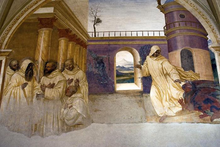 Бенедикт прощает беглого монаха (700x468, 118Kb)