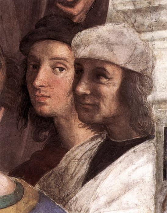 Рафаэль и  Содома (Джованни Антонио Bazzi, 1477-1549)  на фреске  Рафаэля Афинская  школа 1510-1511, Рим, Ватикан, Stanza делла Segnatura (548x700, 120Kb)
