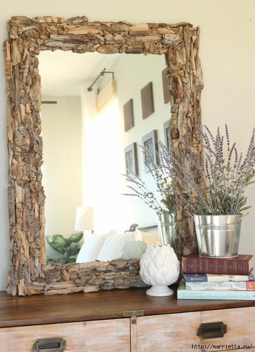 венок, елка и декор рамки зеркала коряжками (2) (507x700, 259Kb)