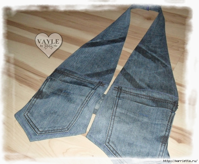 сшить жилетку из старых джинсов