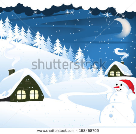 stock-vector--houses-and-snowman-in-a-snow-covered-pine-forest-winter-landscape-158458709 (450x443, 48Kb)