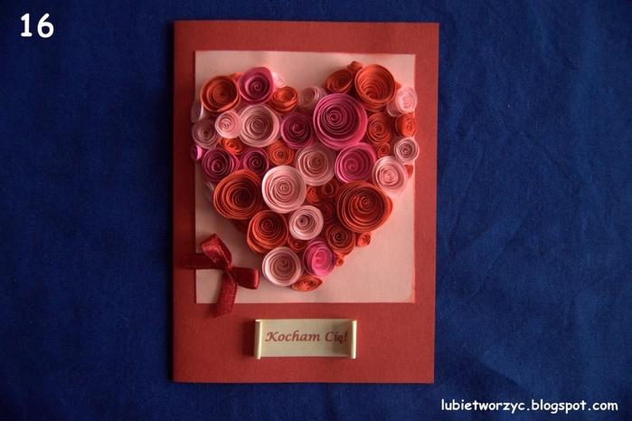 Открытка из бумажных роз, поздравления