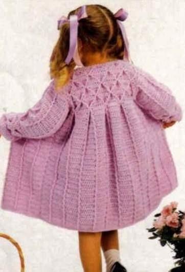 Вязаное пальто для девочки.Как связать девочке 8 лет ...
