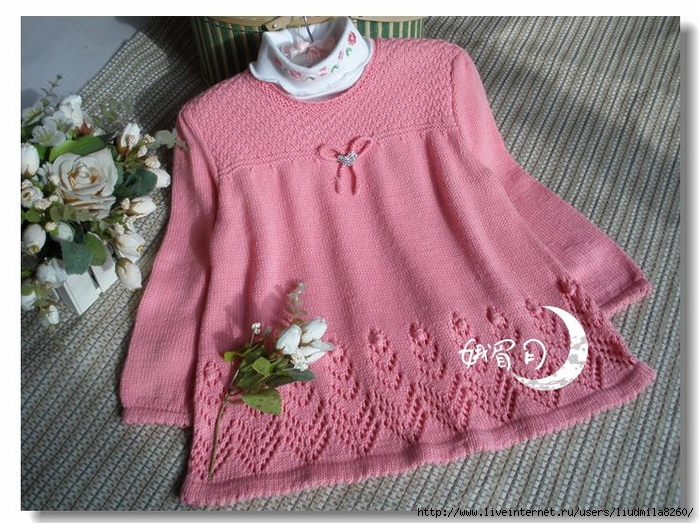 вязание девочкам спицами свитер джемпер пуловер записи в