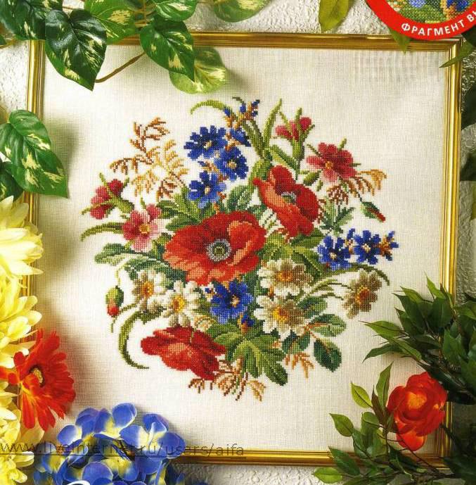Схема вышивок цветы на панно