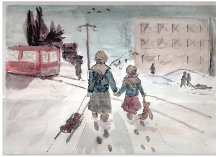 Рисунок санок во время войны
