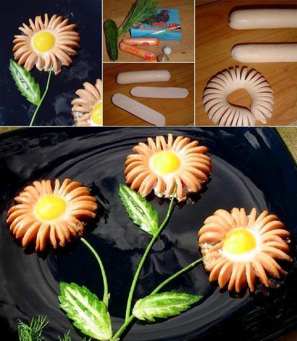 Цветок из сосисок