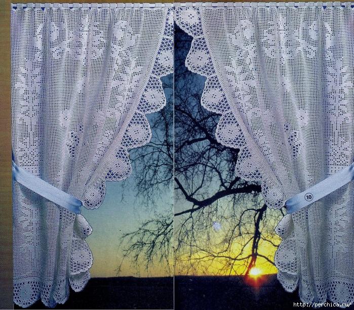 вязание крючком занавески на окно великолепные