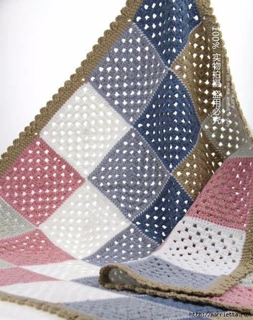 Детский плед и подушка крючком бабушкиными квадратами (2) (500x632, 213Kb)