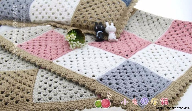 Детский плед и подушка крючком бабушкиными квадратами ...