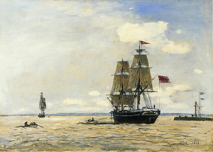 Jongkind_Johan_Berthold_Norwegian_Naval_Ship_Leaving_the_Port_of_Honfleur (700x501, 387Kb)