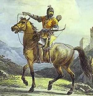 Запрещённая победа. Битва при Молодях. Крымско-татрский всадник (300x310, 90Kb)