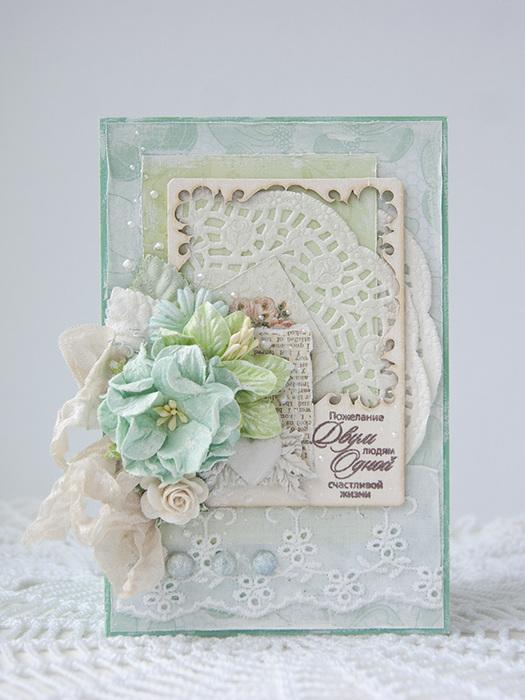 Свадебные открытки скрапбукинг в бело мятных тонах