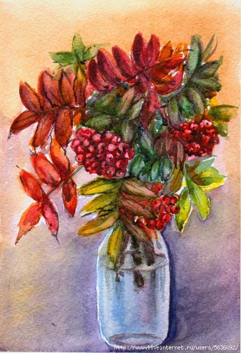 листья в вазе рисунок гуашью любимые