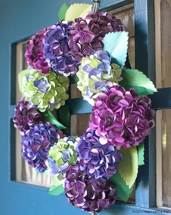ВЕНОК из бумажных цветов гортензии (2) (556x699, 314Kb)