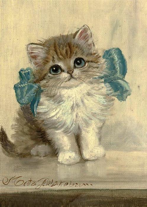 Котенок с открытки, днем рождения