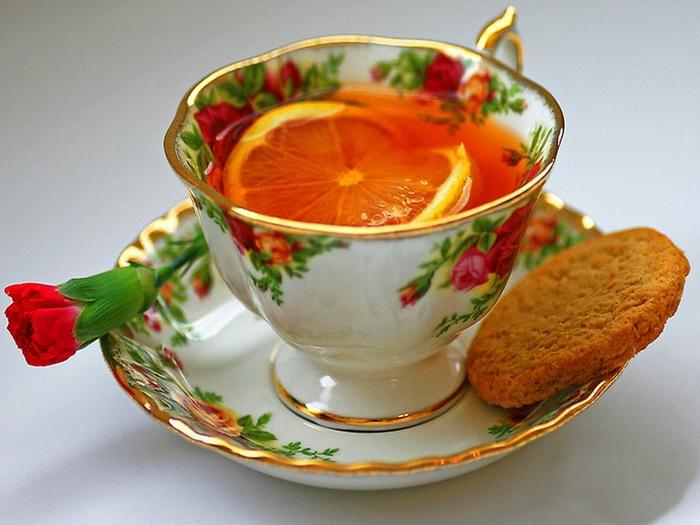 Картинка с надписью чай с лимоном