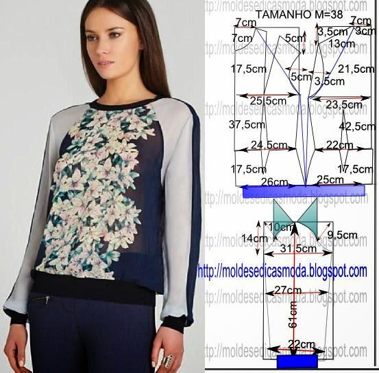 a753435fc9d Блузка с рукавами реглан. Готовая выкройка. источник asda (553x543