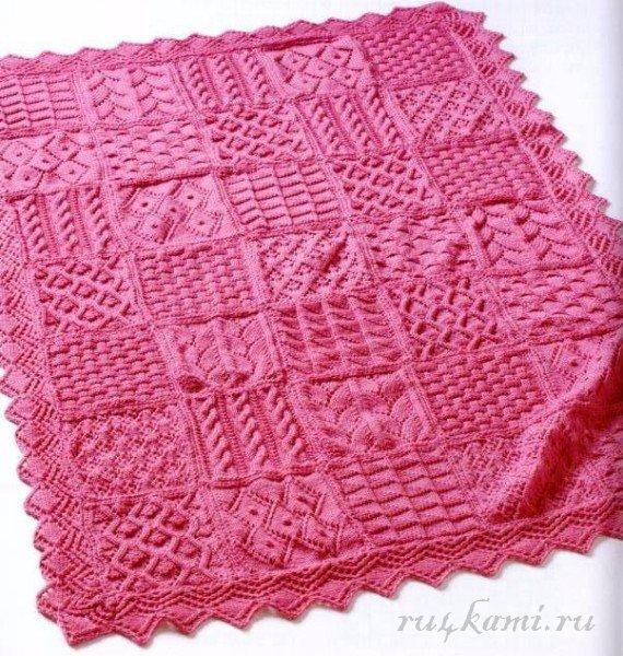 Вязание одеяла на руках