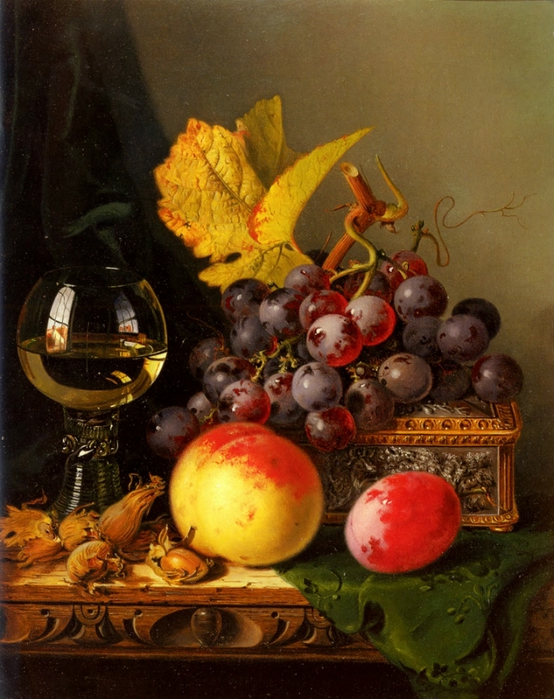 a_still_life_of_black_grapes,_a_peach,_a_plum,_hazelnuts,_a_metal_casket_and_a_wine_glass_on_a_carved_wooden_ledge-large (554x700, 305Kb)