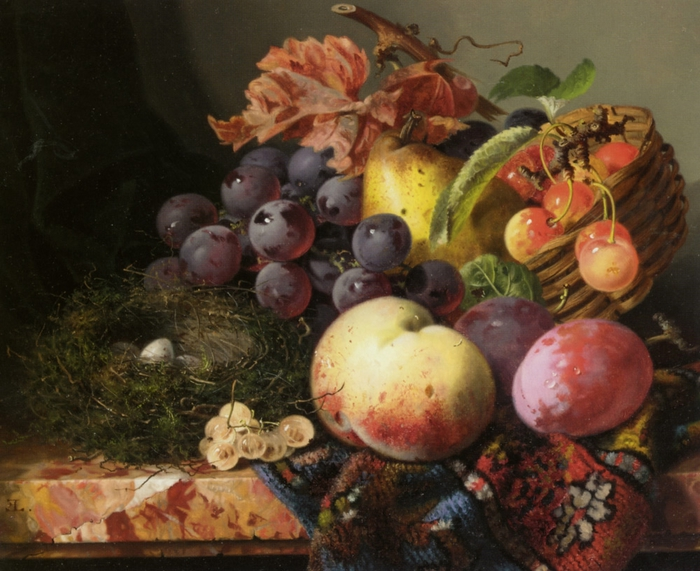 Ladell_Edward_Still_Life_With_Peaches_Plums_Cherries_Grapes_Pear_and_Birds_Nest_Oil_on_Canvas-large (700x571, 294Kb)
