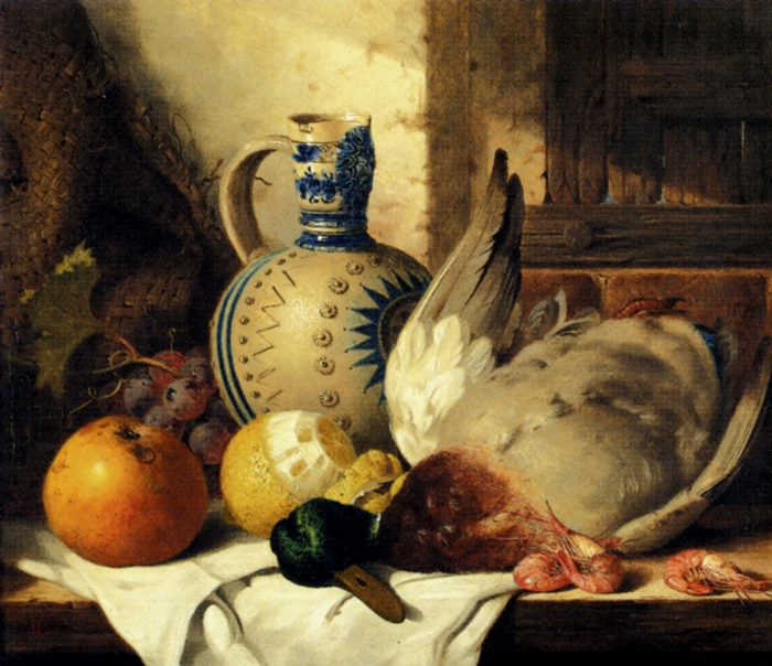 prawns,_a_mallard,_a_lemon,_an_apple,_grapes_and_a_stoneware_jug_on_a_draped_wooden_ledge-large (700x604, 342Kb)