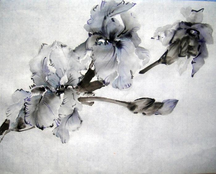Японская живопись тушью мастер класс + видео #6