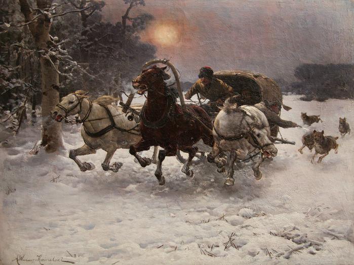 Картинки по запросу русская тройка и волки в живописи