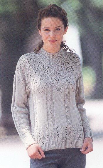 свитер с круглой кокеткой спицами схема