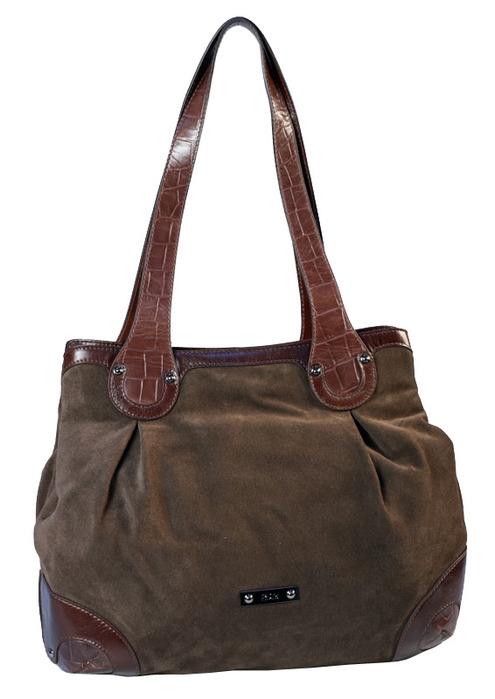 Женская сумка Palio из замши коричневого цвета.  Внутри - два отделения...