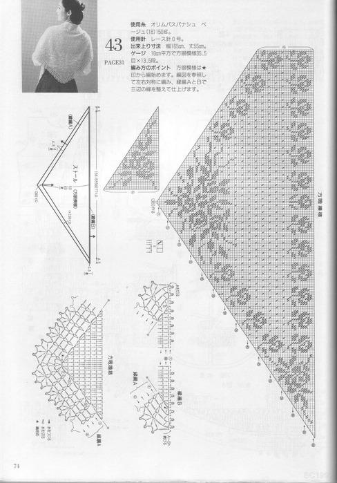 Вязанные шали со схемами и описаниями.